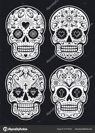 вектор мексиканской черепа узорами старая школа тату стиль сахар