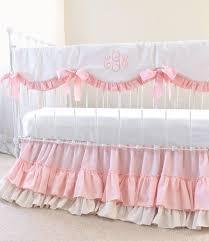 monogrammed crib bedding girl solid