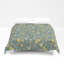 blue green fl pattern duvet cover