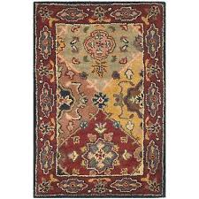 safavieh handmade heritage timeless traditional red wool rug multi red