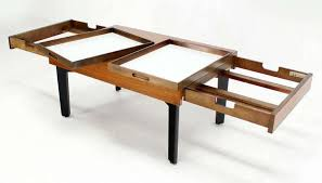 George Nelson Mid Century Modern Walnut Coffee Or Side Table With Pull Out  Trays