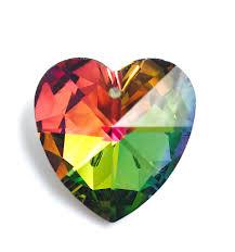 crystal rainbow heart pendant
