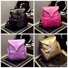 whole women backpack women fashion cool black pu leather owl backpack female hot lady shoulder bag children girls school bags shoulder bags for