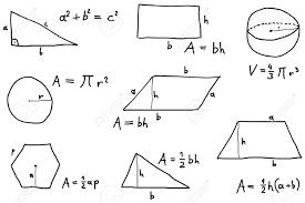 Hand Written Scribble Illustration Geometry Formulas Formulas