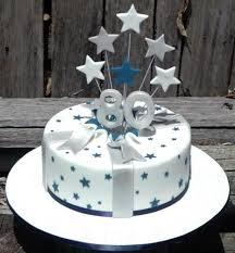 Exploding Stars Silver Blue Cake 80th Birthday Present Cakepinscom