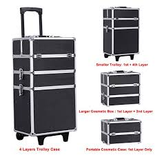 songmics alumi 4 in 1 rolling makeup train case cosmetic trolley box with lift handle and lock 2 wheel ujhz01b