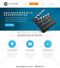 One Page Website Template Beauteous Website Template Landing One Page Header Flat Design And Icons 48