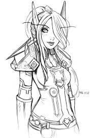 Elf Warrior Coloring Page Sketch Coloring