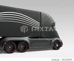 黒色の自動運転電動セミトラックの斜め後ろイメージのイラスト素材
