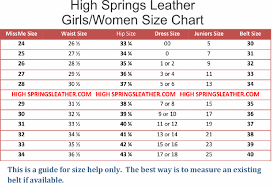 Girls Size Chart Girl And Ladies Belt Size Chart