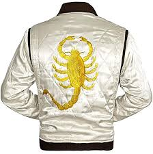 Mens Satin Jacket Golden Scorpion Mens Quilted Trucker