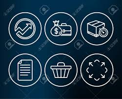 Set Of Audit Shop Cart And Delivery Timer Icons Salary File
