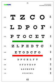 Snellen Chart 20 Feet Snellen Chart With Red Green Lines 10 Feet