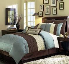 chezmoi collection 104 x 92 inch 8 piece stripe comforter bed in a bag set king beige blue brown