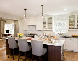 Clear Glass Pendants Lighting Beautiful Kitchen With Large Clear Glass Bell Jar Pendants Over Brown Island Accented Lighting