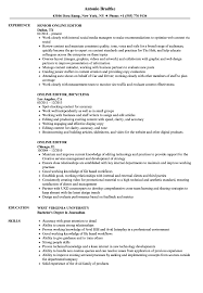 Online Editor Resume Samples | Velvet Jobs
