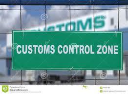 Signe Vert, Zone De Contrôle De Douane, Sur La Barrière Du Terminal  Logistique Image stock - Image du barrière, terminal: 104161097