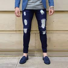 Mens Fashionable Denim Pant Rip Repair Stylish Jeans For Men Casual Long Denim Pants