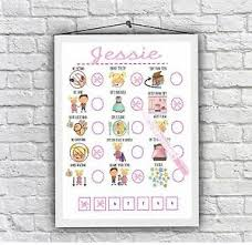 Details About Girls Reward Chart Toddler Behaviour Print Daily Visual Aid Autism Adhd Unframed