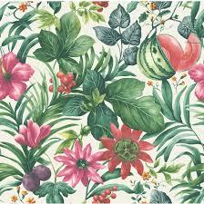 Bolcom Botanical Bloembladeren Witgrnroze Behang Vliesbehang
