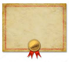 Certificado En Blanco Con La Cinta De Oro Crest Fotos De Stock