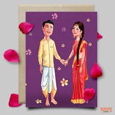 illustrated wedding invitation design service sporg studio book South Indian Wedding Cards south indian wedding caricature invitation card illustrated wedding gift south indian wedding cards