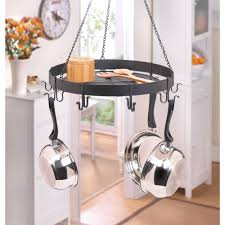 Hanging Bakers Rack Kitchen Black Metal Chain Hanging Kitchen Storage Hook Shelf Pot Pan
