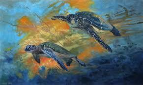 green turtles underwater painting