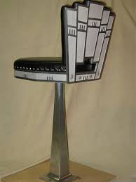 Art Deco Bar Stool Leather And Aluminium