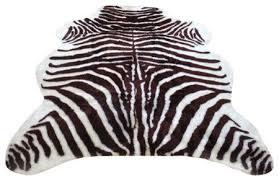 super plush brown white faux zebra hide rug 3 5x4 6 medium