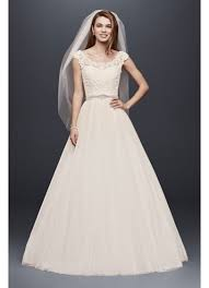 petite wedding dress with illusion neckline david s bridal