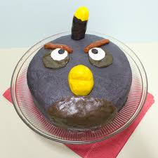 Black Bird Cake from Angry Birds a decorated round cake
