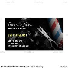 Barber Business Cards Design Silver Scissor Professional Barber Shop Business Card