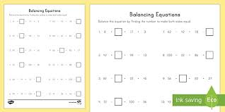 balancing equations using missing