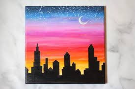 how to paint a sunset cityscape with
