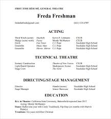 Actors Resume Format Interesting Gallery Of Sample Theatre Resume Images Theater Ideas Musical