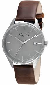 men s kenneth cole brown leather strap watch 10029305
