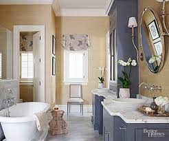 Texture and Textiles. A blue-gray bathroom ...