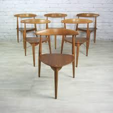 hans wegner vintage furniture. vintage hans wegner for fritz hansen heart danish dining table 6 tripod chairs furniture a