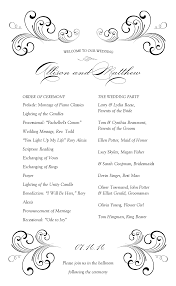 wedding reception program templates free download black swirl wedding program