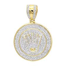 solid 10k gold real diamond crown pendant for men iced out round medallion yellow image