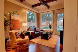 Warm family room with orange accents contemporary-family-room