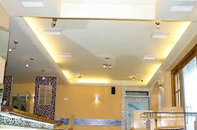 Interior:Hovering Ceiling Design Idea With Led Lights And Spotlights Also  Ventilation Hovering Ceiling Design