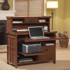 chic brown computer desk with hutch made of wood by kathy ireland furniture for home office furniture ideas chic office desk hutch
