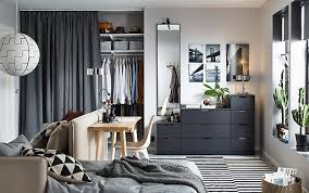 dark bedroom furniture. Anthracite NORDLI Chest Of 9-drawers Against A Back Wall In Small Living Space Dark Bedroom Furniture