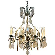 large french wrought iron and crystal chandelier by maison baguès for