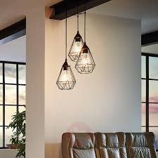 3 bulb vintage pendant light tarbes in black 3031860 01