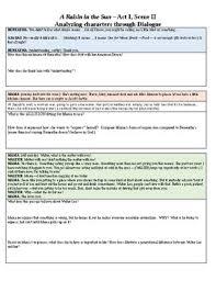 A Raisin In The Sun Character Chart Answer Key Rl 1 A Raisin In The Sun Act Ii Analyzing Characters Through Dialogue