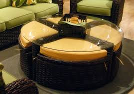 rattan and glass coffee table image of rattan ottoman glass top round wicker coffee table glass