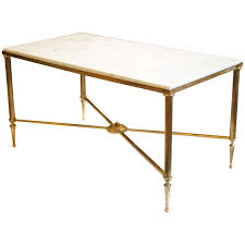 french marble top brass coffee table at stdibs throughout white